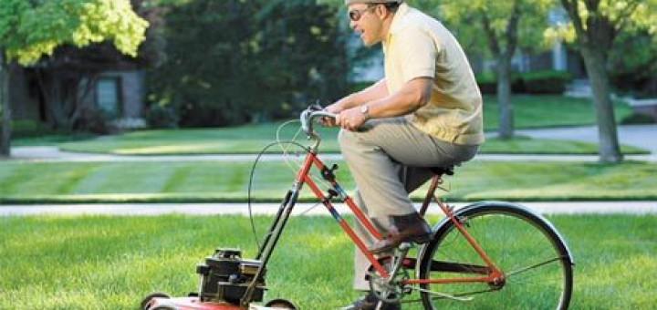 défi 1km: Vélo roue avant tondeuse